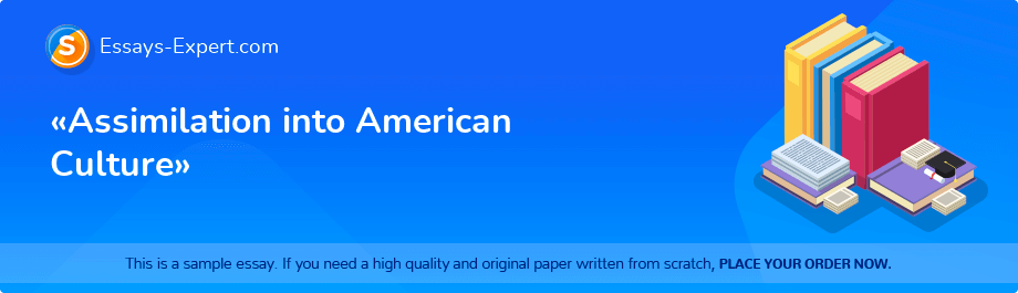 Free Essay Sample «Assimilation into American Culture»
